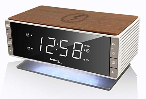 Technoline mit Qi-Ladefläche Retro WT487 Wireless Charger, Holz-Optik, 16,5 x 8 x 9,3 cm