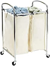 Seville Classics Mobile 2 Compact Laundry Hamper Sorter Bag Cart, Chrome
