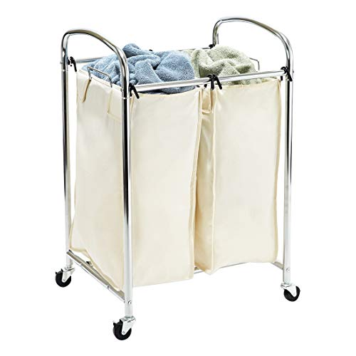 Seville Classics Laundry Hamper Sorter Cart Mobile Premium 2-Bag...