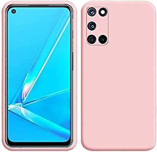 OPPO A92 Case, LaimTop Slim Liquid Silicone Soft Gel Rubber Shockproof Anti-Scratch Protective Case Cover for OPPO A92 Pink