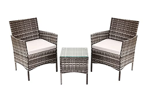 Rattan Garden Furniture Set 3 piece,Patio Table Sofa Chair Corner Garden Furniture Includes 1 Table and Garden Chairs Set of 2 (Gray)
