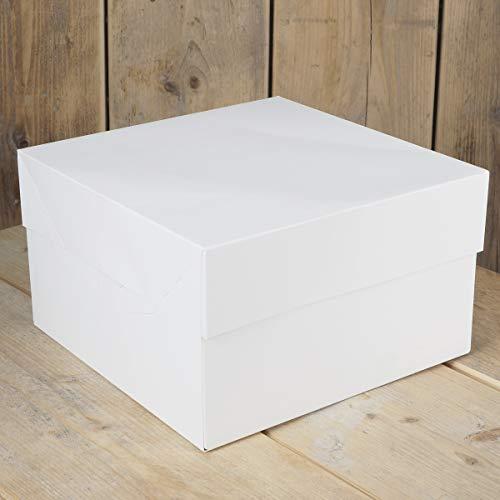 FunCakes FC0905 Caja para Tartas (33 x 33 x 15 cm, 25 Unidades), Color Blanco, Papel