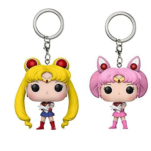 2 Piezas Lindo Sailor Moon Y Sailor Chibi Moon Llavero De Bolsillo Figura De Acción Colección De Juguetes para Niños con Caja De Venta Al por Menor De 4 Cm