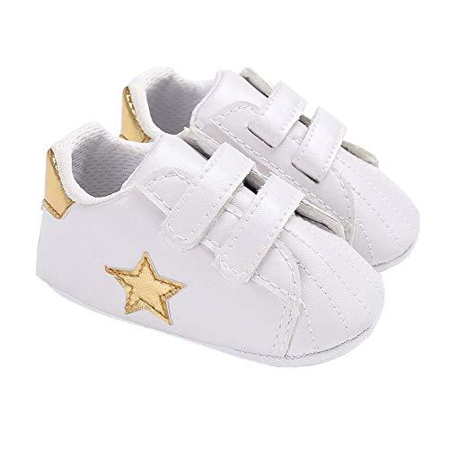 Scarpe da neonato, stile scarpe da tennis, con stella, con suola morbida, Oro (Oro), 6-12 mesi