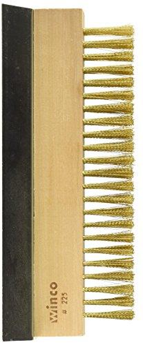 Winco Brass Wire Oven Bristle Brush with Metal Scraper,Brown,Medium