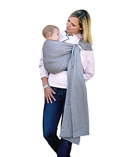 AMAZONAS Babytragetuch ohne Knoten Ring Sling Grey 180 cm 0-3 Jahre bis 15 kg