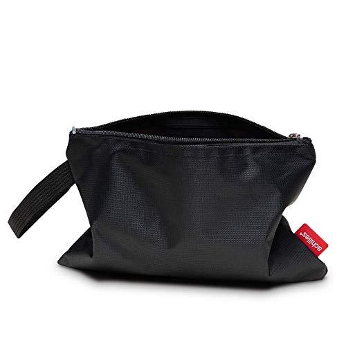 achilles Kosmetik-Tasche mit Trageschlaufe Make-up-Etui Kultur-Beutel Aufbewahrungs-Organizer Handtaschen-Einsatz Reißverschluss-Mäppchen Innen-Handtaschen Schwarz 25x17cm