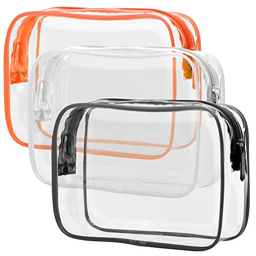 Clear Toiletry Bag, Packism 3 Pack TSA Approved Toiletry Bag Quart Size Bag, Travel Makeup Cosmetic Bag for Women Men, Carry on Airport Airline Compliant Bag, Black, White, Orange
