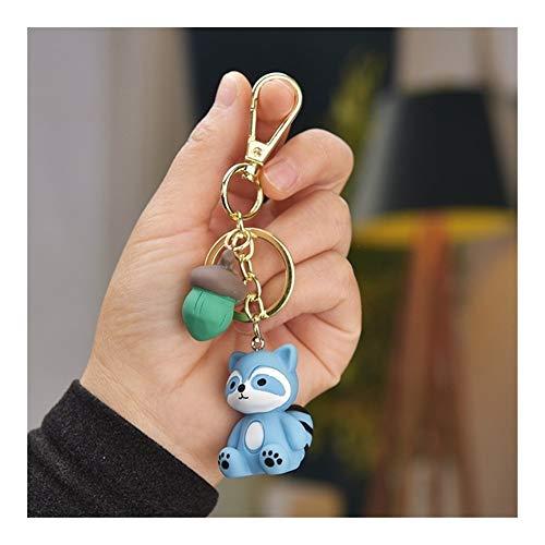 Llaveros Cadenas de moda Pequeño mapache Llavero lindo de la historieta bolsa de la llave del coche colgante de joyería anillo de claves a Holder mujeres de las muchachas encanto de la llave regalo Ll