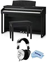 Kawai CA48 88-Key Grand Feel Compact Digital Piano with Bench, Satin Black - with Behringer HPS3000 High-Performance Studio Headphones, Microfiber Cloth