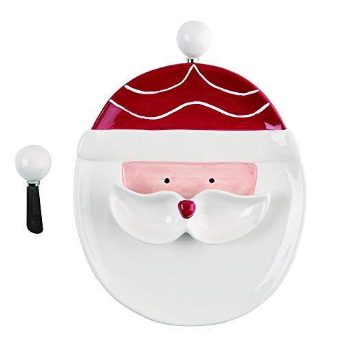 burton burton servewares Christmas Santa Chip & Dip Dolomite Platter Set Standard