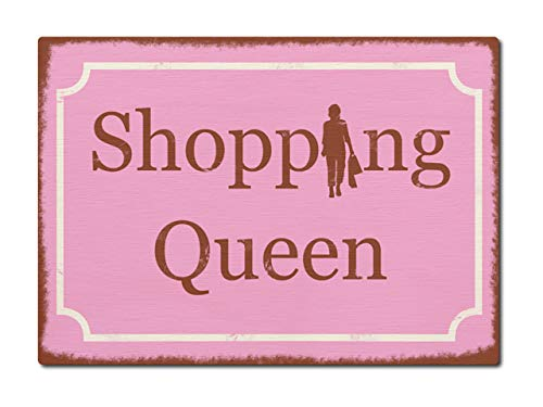 LUXECARDS Interluxe Postkarte aus Holz Shopping Queen Shabby Vintage Karte DIN A6