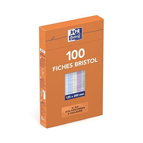 Oxford 100104817 Etui de 100 Fiches Bristol colorées petits carreaux non perforées 12,5 x 20 cm Assortis Blanc/Bleu/Jaune/Rose/Vert