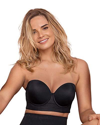 Lace Stripe Underwire Push Up Bra - Support Strapless Black