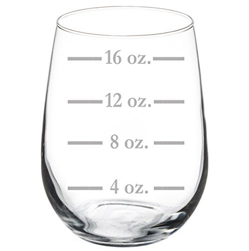 Wine Glass Goblet Measuring Cup Ounces (17 oz Stemless)