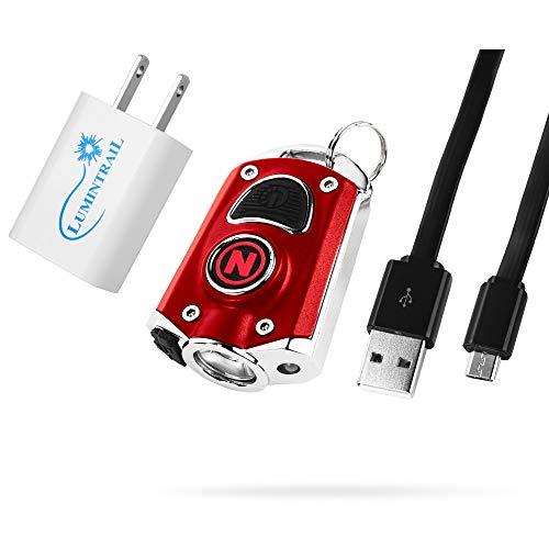 NEBO Mycro 400 Lumen USB Rechargeable Keychain Pocket Flashlight Bundle with Lumintrail USB Wall Adapter (Red)