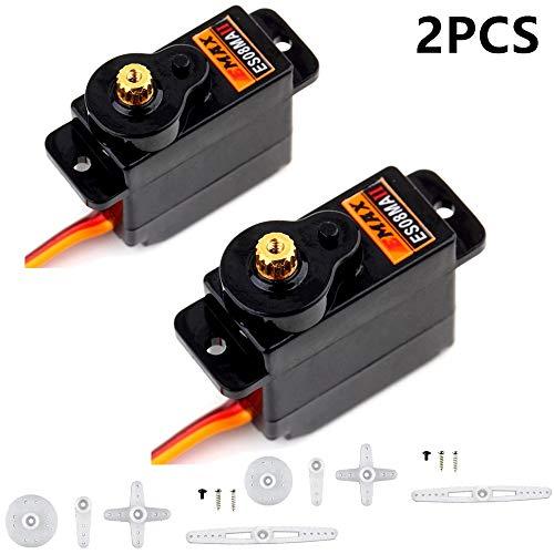 ZHITING 2Pcs ES08MA II 12g Mini Metallgetriebe Analog Servo Stoßdichte stabile Maschine Kompatibel für RC-Modell