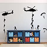 Soldado del ejército pegatina de pared vinilo arte calcomanía adolescente niño hombres ejército ventilador dormitorio decoración del hogar pegatinas de pared Mural otro color 57x43cm