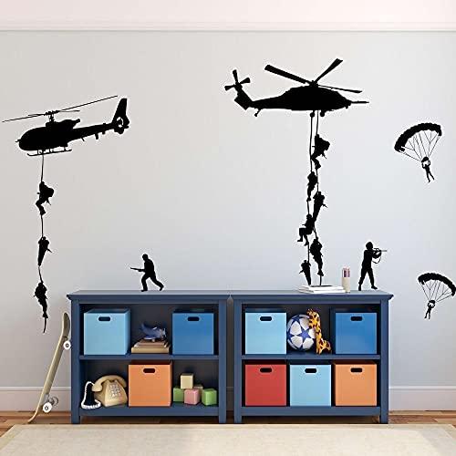 Soldado del ejército pegatina de pared vinilo arte calcomanía adolescente niño hombres ejército ventilador dormitorio decoración del hogar pegatinas de pared Mural A4 57x43cm