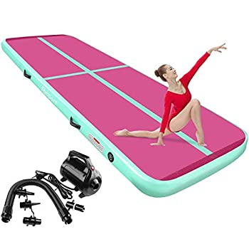FBSPORT 8inches/4 inches Thickness Air Inflatable Track Mat,26ft/23ft/20ft/17ft/13ft/10ft Inflatable Track air mat for Gymnastics Training/Home Use/Cheerleading/Yoga/Water with Electric Pump