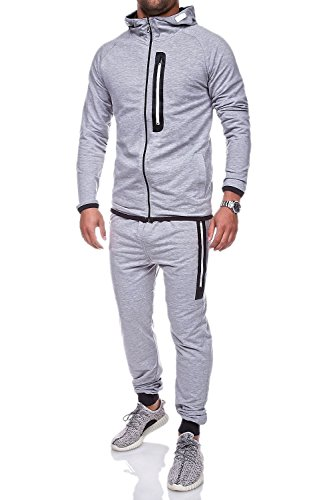MT Styles Trainingsanzug mit Zipper Sportanzug R-5038 [Grau, L]