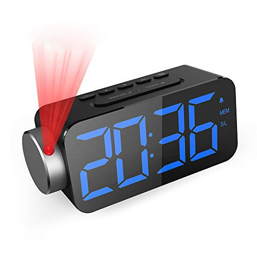 GlobaLink Reloj Despertador Digital, Despertador Proyector con FM Radio,Brillo de Proyección Ajustable 180 Rotable,Puerto USB,12/24 H,Snooze,Pantalla LED 6.5