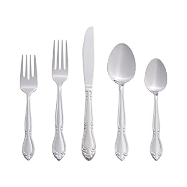 RiverRidge Home 46 Piece Non-Mongrammed Flatware - Rose Pattern