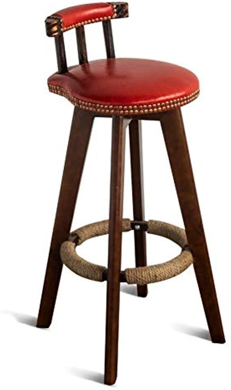Bar Stuhl Barhocker Moderner Unbedeutender Barhocker-hlzerner Retro Barhocker, Der Front Desk Home High Stool Barhocker Dreht ZHAOFENGE (Farbe   rot, Größe   74cm)