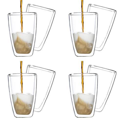 Haushalt International Latte Macchiato Glas, doppelwanding, Becher, Glasbecher, Kaffeebacher, Thermoglas, Isolierglas, 400ml (4er Set)
