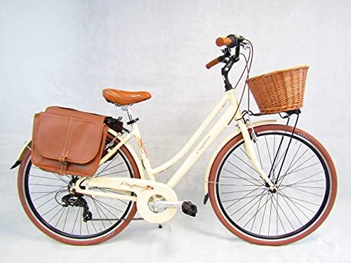 bicicletta da donna bici 28'' city bike in alluminio vintage retro' cesto in vimini borse laterali