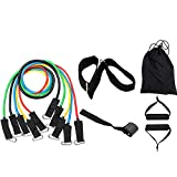 FanHome Exercise Resistance Bands 11 PCS Set, Fitness Stretch <span class='highlight'>Workout</span> Bands with Tubes-5 Tubes,2 Hand Grips,Door Anchor,Ankle Straps,Carrying Pouch-Yoga,CrossFit,Pilates for Physio Home Gym <span class='highlight'>Equipment</span>