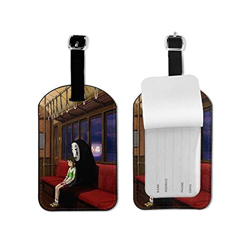 Spirited Away - Etiquetas de equipaje de piel para viaje, con funda de privacidad, diseño divertido con mini etiqueta de equipaje