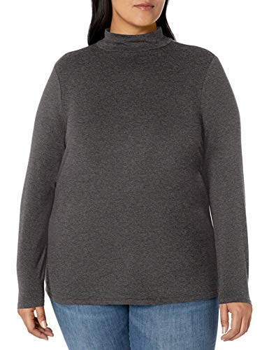 Amazon Essentials Women's Plus Size Long-Sleeve Mockneck, Charcoal Heather, 6X