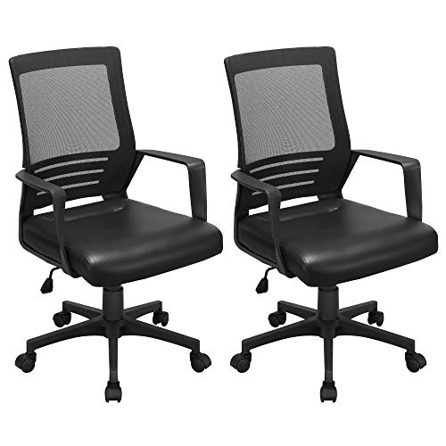 Topeakmart 2 Pack Mesh Desk Chairs with Leather Seat, Ergonomic Adjustable Office Armchair, Computer Chair for Back Pain Black