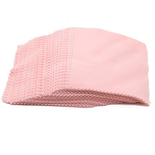SenseYo 100 PCS Jewelry Cleaning Cloth Polishing Cloth for Silver Gold and Platinum Jewelry (Pink)