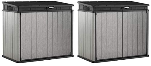 KETER Elite Store 4.6 x 2.7 Foot Resin Outdoor Storage Shed with Easy Lift Hinges, Perfect for Trash Cans, Yard Tools, and Pool Toys, ft, Grey & Black (Тwo Рack)