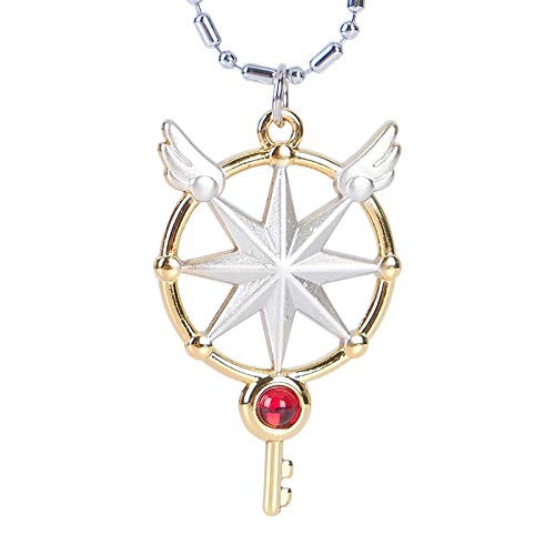 Lanyifang Anime Cardcaptor Sakura Clear Card Cosplay Sueño Llave Varita Colgante Collar Amuleto