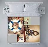 fatfoto Fotodecke mit eigenen Fotos und Text gestalten - Bedruckte Kuscheldecke - personalisiertes Fotogeschenk - Decke mit Collage (75 x 100 cm, 4 Bilder - Collage)