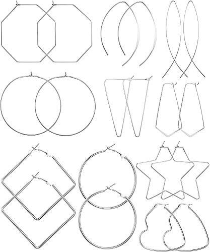 Milacolato10 pares Aros Pendientes Grandes para Mujer Acero Inoxidable,Corazón, Estrella, Cuadrado, Enhebrador Geométrico, Grandes y finos, Pendientes de Aro de Alambre, Joyería de Moda