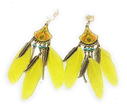Pendientes de araña de plumas amarillas con cierre de clip, diseño tribal gitano, bohemio, borla