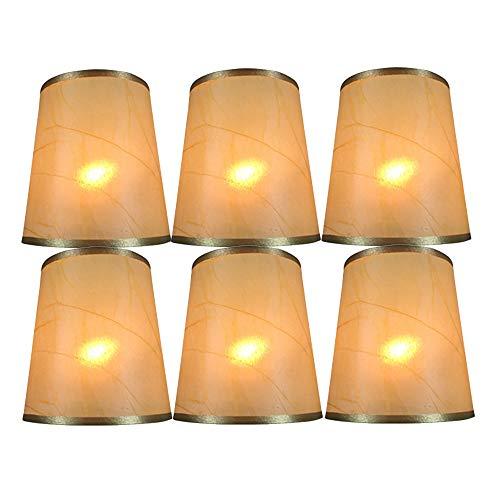 DULEE 6er Set Oberseite 3,5 x Höhe 4,7 x Unterseite 5 Zoll Handmade Clip On Lampenschirme Kerze Lampenschirme Klein Lampenschirm Kronleuchter Lampenschirm, Gold