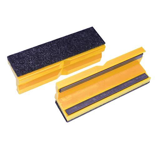 Bernstein Werkzeuge 9-900-S6100 Schraubstockbacken/Schonbacken 100 mm magnetische Schutzbacken Filzbelag mit glatter und profilierter Oberfläche aus Kunststoff