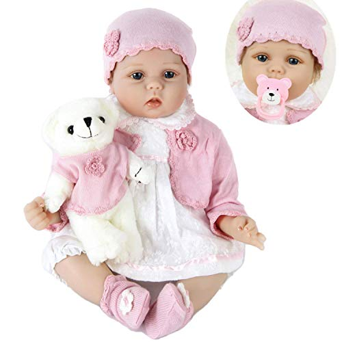 HAPA Bambola Reborn Bambole Ragazza e Orsacchiotto Realistica 55 cm Silicone Giocattoli per Bambini