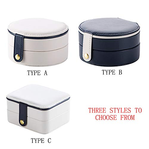 Tragbare Aufbewahrungsbox für Schmuck, stilvoll und stilvoll, kann Ohrringe, Halsketten, Ringe, kleine Kosmetikprodukte usw, aus hochwertigem PU-Material, mit Spiegel, speichern. Es Stehen 3 Stile zu