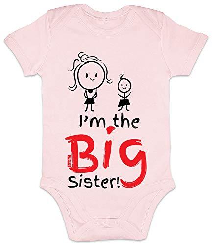 Hariz I'm The Big Sister - Body de manga corta para bebé, diseño de hermana grande rosa Algodón de azúcar rosa. Talla:0-3 meses