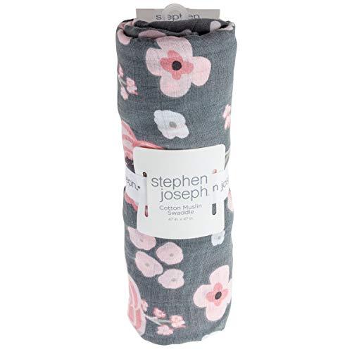 Stephen Joseph, Unisex Baby Cotton Muslin Swaddle Blanket, Charcoal Flower