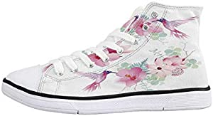 House Decor Comfortable High Top Canvas ShoesTropical Beach Scenery from Hotel Room Vacation Journey Relax and Go Home Decor for Women Girls,US 5