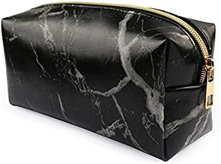 Yiherone Precious Marble Pattern Pencil Cases Big Capacity PU Leather Ornamental Bag Pencil Bag School Office Supplies(White) New (Color : Black)