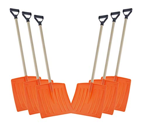Great Deal! Superio Kid Snow Shovel with Wooden Handle (6 Pack) Kids Size Orange Durable Shovel for ...