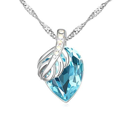 Daesar Schmuck Damenkette Vergoldet Blatt Träne Halsketten Zirkonia Anhänger Halskette für Frauen